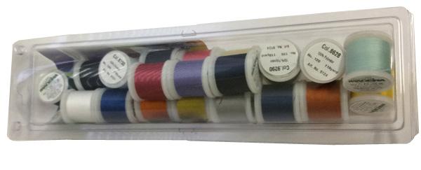 Набор швейных ниток Madeira Aerofil № 120 из двадцати катушек различных цветов.